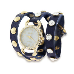 Navy Blue Leather with Gold CZ Studs Wrap Around Watch