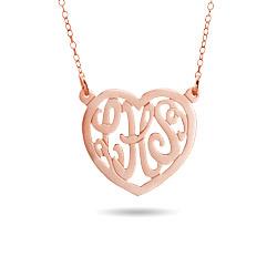 Rose Gold Vermeil Custom Monogram Heart Necklace