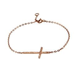 Rose Gold Vermeil CZ Sideways Cross Bracelet