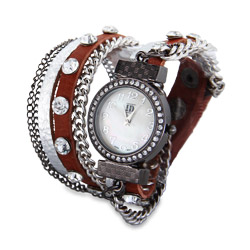 Silver and Sienna Wrap Around Chain Watch
