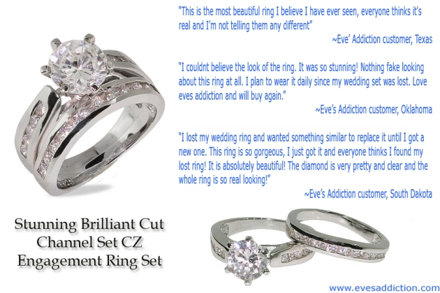 Stunning Brilliant Cut Channel Set CZ Engagement Ring Set Review