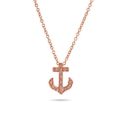 Tiffany Style Rose Gold CZ Petite Anchor Pendant