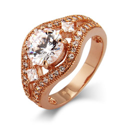 Victoria's Dazzling Brilliant Cut CZ Vintage Rose Gold Ring