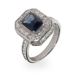 Elegant Emerald Cut Sapphire CZ Cocktail Ring