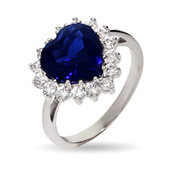 Heart of the Ocean Titanic Inspired Sapphire CZ Heart Ring