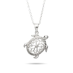 Sterling Silver Filigree Design Turtle Necklace - EvesAddiction.com
