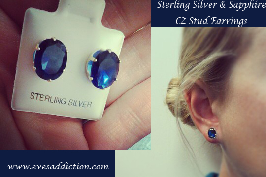 Sterling Silver Sapphire CZ Stud Earrings