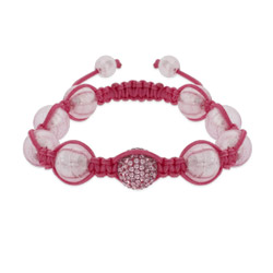 Pink Pave Austrian Crystal Shamballa Inspired Bead Bracelet