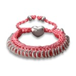 Pink Braided Friendship Bracelet with Engravable Heart