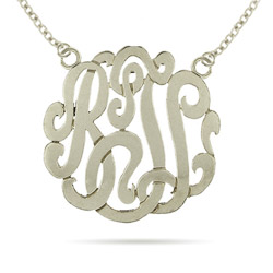 Sterling Silver Large Custom Monogram Necklace