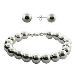 Tiffany Style 10mm Bead Bracelet and Earrings Set