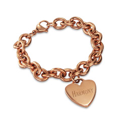 Tiffany Style Rose Gold Heart Tag Bracelet