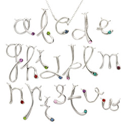 Tiffany Style Sterling Silver Custom Birthstone Initial Necklace