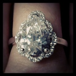 Catherines Vintage Style Faceted Pear Cut CZ Ring