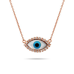 Rose Gold Vermeil CZ Evil Eye Necklace