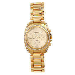 Designer Inspired Gold Tone CZ Boyfriend Watch