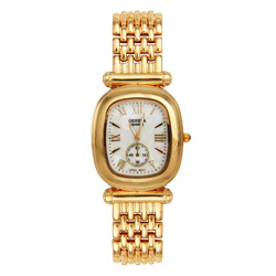 Designer Style Goldtone Watch with Mother of Pearl Face