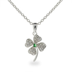 lucky four leaf clover sterling silver pendant